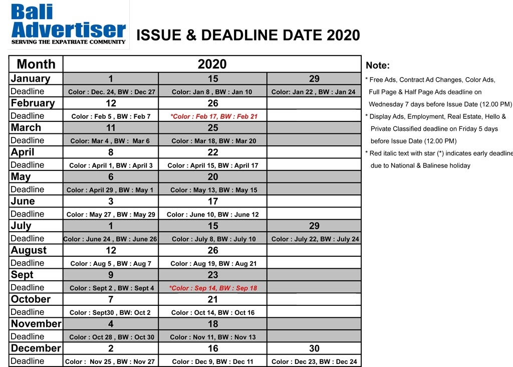Issue & Deadline dates for 2019